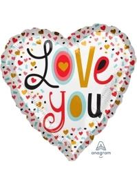 """17"""" I Love You More Confetti Balloon"""