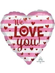 """17"""" We Love You Glitter Hearts Balloon"""
