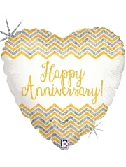 "18"" Chevron Anniversary Balloon"