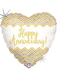 """18"""" Chevron Anniversary Balloon"""