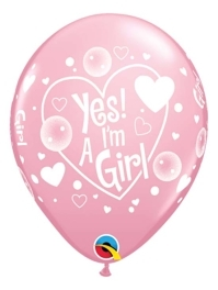 """11"""" Yes I'm A Girl Baby Balloon"""
