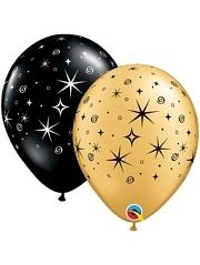 """11"""" Gold Sparkles & Swirls Anniversary Balloon"""