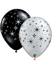 """11"""" Silver Sparkles & Swirls Anniversary Balloon"""