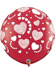 "36"" Etched Hearts A Round Love Balloon"