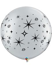 """30"""" Silver Sparkles & Swirls Anniversary Balloon"""