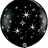 """36"""" Black Sparkles & Swirls Anniversary Balloon"""