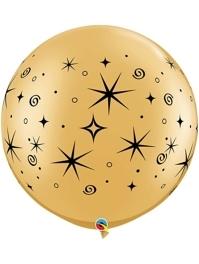 """30"""" Gold Sparkles & Swirls Anniversary Balloon"""