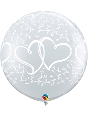 "36"" Entwined Hearts Clear Anniversary Balloon"