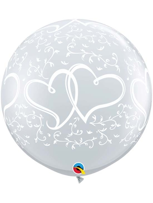 """36"""" Entwined Hearts Clear Anniversary Balloon"""