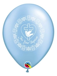 "11"" For Your Baptism Dove Blue Religious Balloon"
