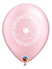 "11"" For Your Baptism Dove Pink Religious Balloon"