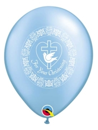 "11"" For Your Christening Dove Blue Religious Balloon"