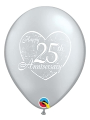 "11"" Happy 25th Heart Anniversary Balloon"