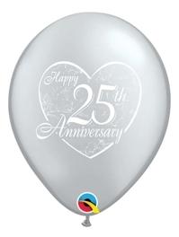 """11"""" Happy 25th Heart Anniversary Balloon"""