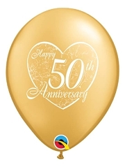 "11"" Happy 50th Heart Anniversary Balloon"