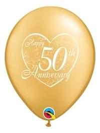 """11"""" Happy 50th Heart Anniversary Balloon"""