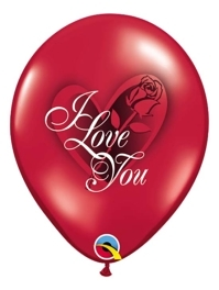 "11"" I Love You Red Rose Balloon"
