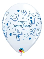 "11"" First Communion Symbols Boy Religious Balloon"
