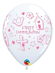 "11"" First Communion Symbols Girl Religious Balloon"