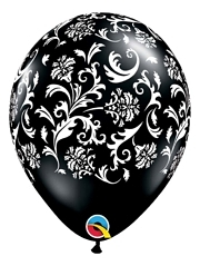 "11"" Black Damask Print Anniversary Balloon"