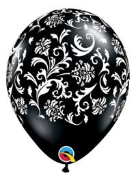 "11"" Black Damask Print Anniversary Balloon"