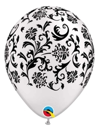 "11"" Pearl White Damask Print Anniversary Balloon"