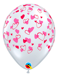 "11"" Red & Pink Hearts Balloon"