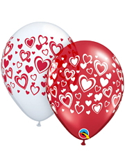 "11"" Double Hearts White & Red Balloons"