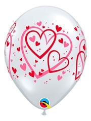 "11"" Red & Pink Pattern Hearts Balloon"
