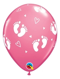 """11"""" Baby Girl Footprints & Hearts Balloon"""
