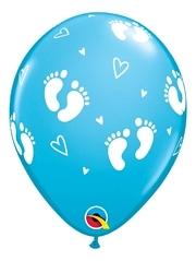 """11"""" Baby Boy Footprints & Hearts Balloon"""