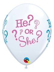 "11"" He or She Baby Reveal Balloon"