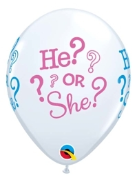 """11"""" He or She Baby Reveal Balloon"""