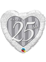 "18"" Happy 25th Anniversary Heart Balloon"