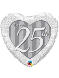 """18"""" Happy 25th Anniversary Heart Balloon"""