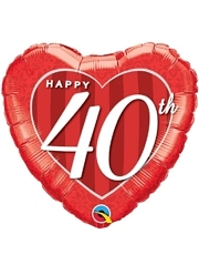 "18"" Happy 40th Anniversary Heart Balloon"