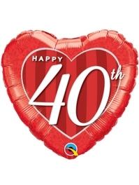 """18"""" Happy 40th Anniversary Heart Balloon"""