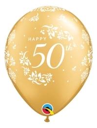 "11"" 50th Anniversary Damask Balloon"