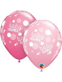 "11"" Baby Girl Pink Dots Balloon"