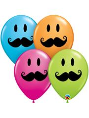 """11"""" Smile Face Mustache Balloons"""