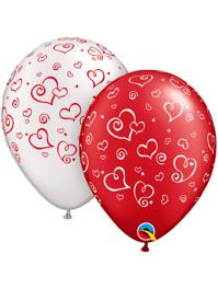"11"" Swirl Hearts White Imprint Balloon Assortment"