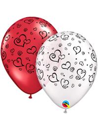 "11"" Swirl Hearts Black Imprint Balloon Assortment"