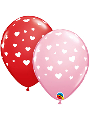 "11"" Random Hearts A Round Balloon Assortment"