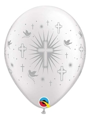 "11"" Cross & Doves Silver Religious Balloon"