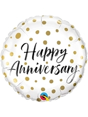 "18"" Happy Anniversary Gold Dots Balloon"