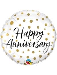 "18"" Happy Anniversary Gold Dots Balloon"