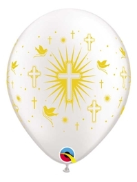 "11"" Cross & Doves Gold Religious Balloon"