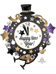"35"" Happy New Year Clock Balloon"