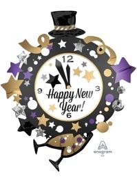 """35"""" Happy New Year Clock Balloon"""