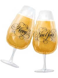 """30"""" New Year Toasting Glasses Balloon"""